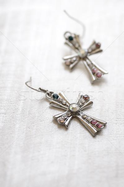 Moda accessori legno superficie gioielli cross Foto d'archivio © nessokv