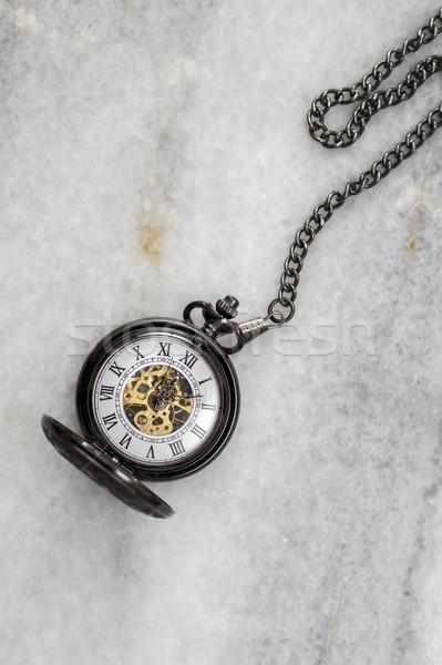 Reloj de bolsillo cadena mármol piedra Foto stock © nessokv
