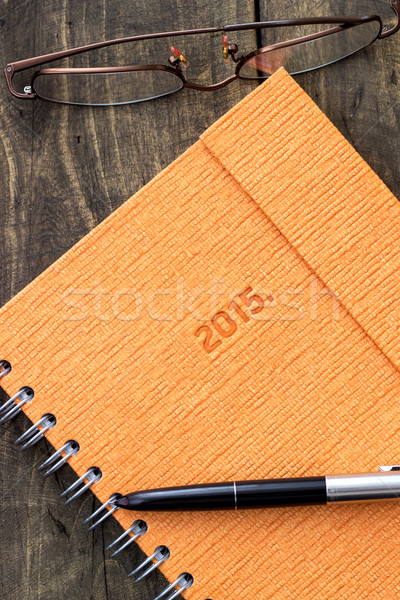 Nieuwe begin notebook pen rustiek Stockfoto © nessokv