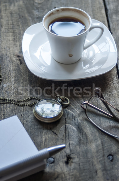Koffiepauze mobiele werkplek beker koffie rustiek Stockfoto © nessokv