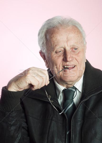 реальные люди старший бизнесмен улыбаясь очки Сток-фото © nessokv
