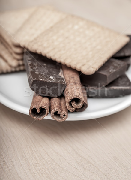 Cinnamon Sticks with chocolate Stock photo © nessokv