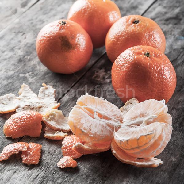 Fraîches juteuse mandarin fruits table en bois printemps Photo stock © nessokv