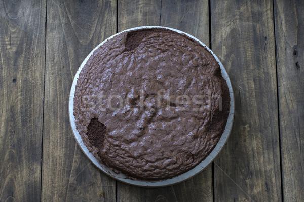Cake base over wooden background Stock photo © nessokv