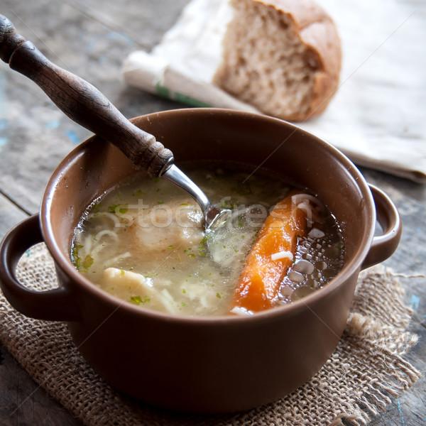 домашний куриный суп таблице продовольствие пасты Сток-фото © nessokv