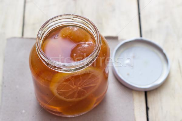 Apricot jam in glass jar  Stock photo © nessokv