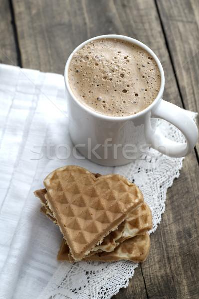 сердце кофейный столик продовольствие завтрак десерта Сток-фото © nessokv