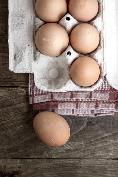 organic eggs Stock photo © nessokv