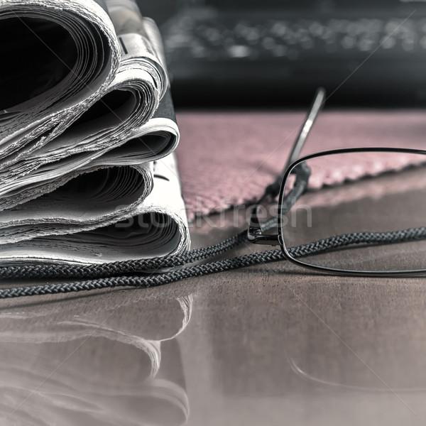 pile of newspaper & glasses Stock photo © nessokv
