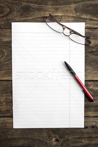 Levélpapír toll asztal fa papír ceruza Stock fotó © nessokv
