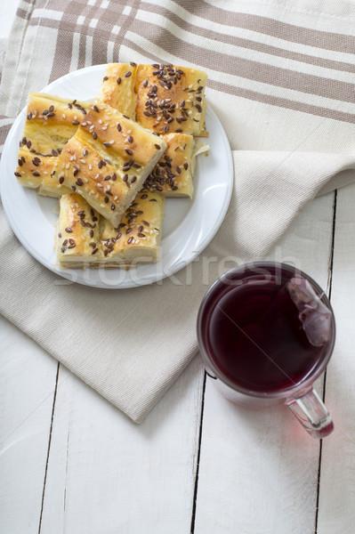 Maison mini fromages tarte bois déjeuner Photo stock © nessokv
