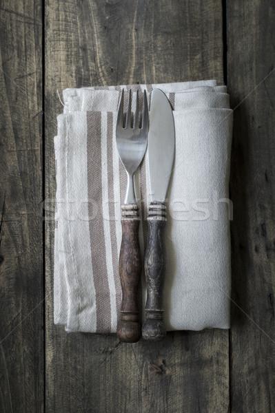 ножом вилка салфетку древесины совета Сток-фото © nessokv