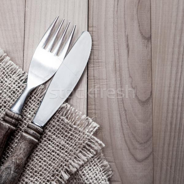 Vintage silverware on  wooden background Stock photo © nessokv