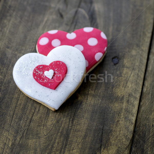 Mézeskalács szív rusztikus fából készült szeretet fa Stock fotó © nessokv