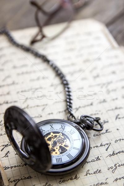 Bağbozumu eski kitap kitap saat Stok fotoğraf © nessokv