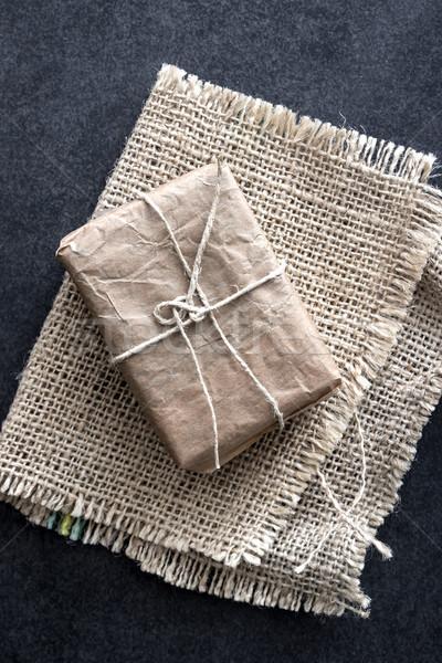 пакет грубая оберточная бумага выветрившийся древесины небольшой Сток-фото © nessokv