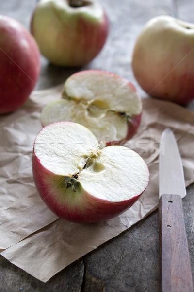 красный яблоки деревянный стол древесины таблице Сток-фото © nessokv