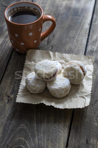 Cookies tasse de café café faible vintage table en bois Photo stock © nessokv