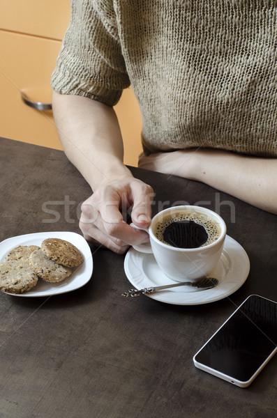 Hand beker koffie business Stockfoto © nessokv