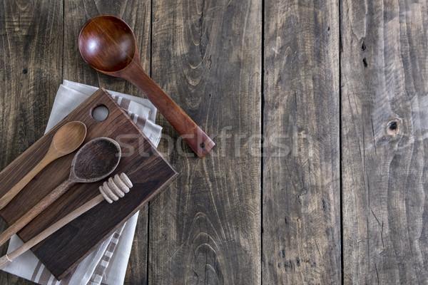 Kitchen utensils on the wooden worktop Stock photo © nessokv