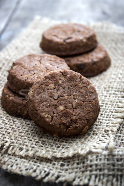 chocolate cookies over wooden background Stock photo © nessokv