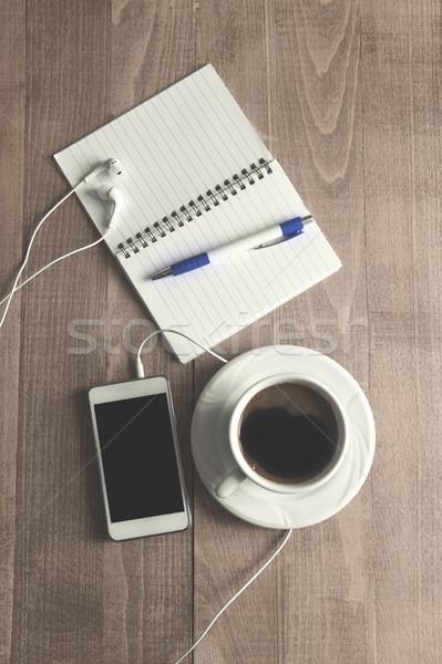 先頭 表示 コーヒー 帳 ペン 電話 ストックフォト © nessokv