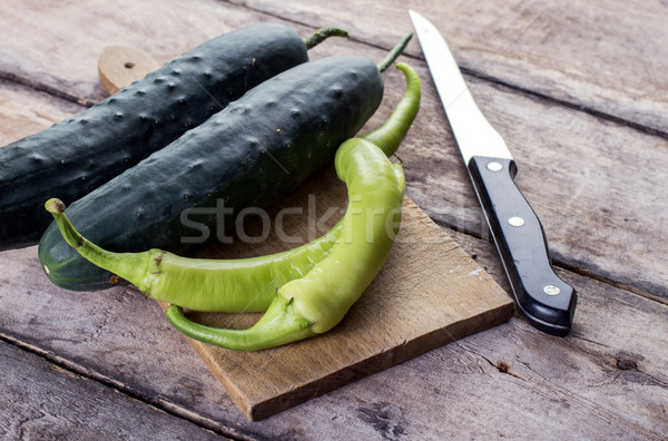 Stock photo: cucumber and chili peppers