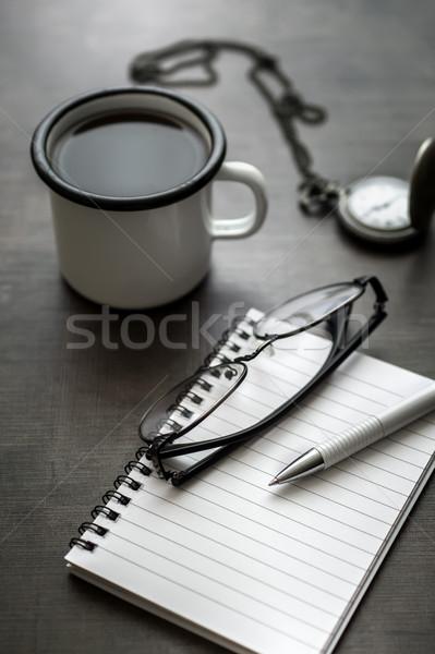Werken bureau persoonlijke koffie notebook Stockfoto © nessokv