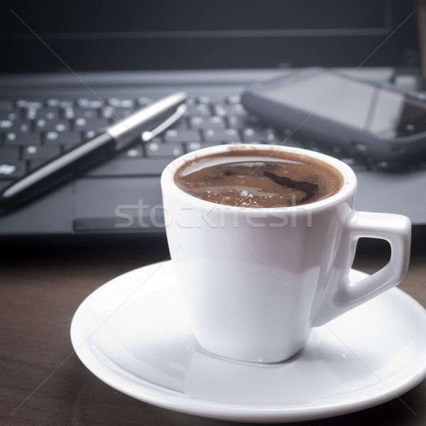 Matin café bureau ordinateur technologie clavier Photo stock © nessokv