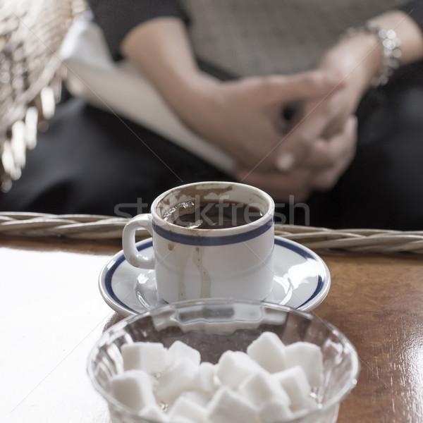 カップ コーヒー 古い木材 表 ホット ぼかし ストックフォト © nessokv