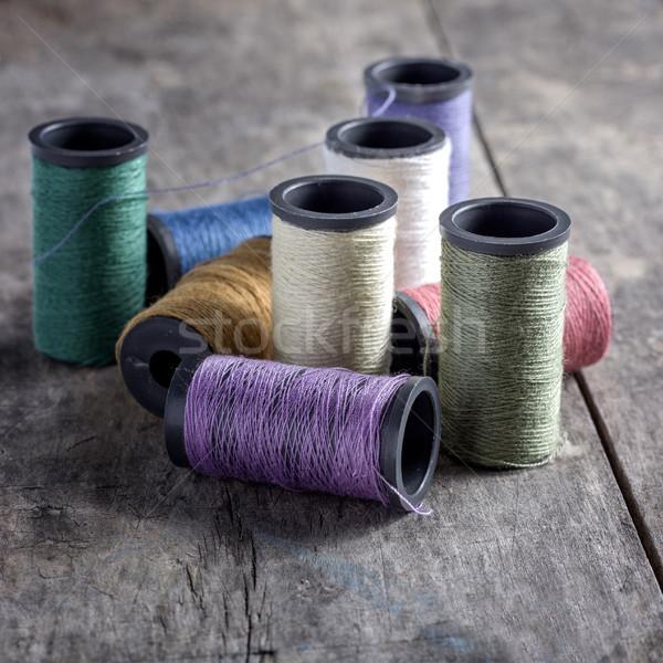 Hilo edad coser textiles Foto stock © nessokv