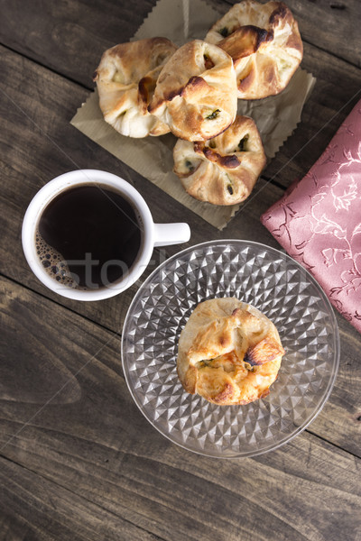 Delicious homemade  strudel with coffee Stock photo © nessokv