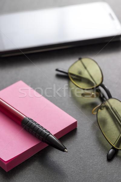 Sticky note, pen and  glasses Stock photo © nessokv