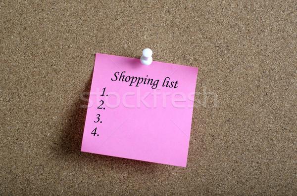 Lembrete nota pegajosa placa de cortiça compras lista texto Foto stock © nessokv