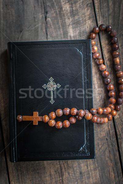 Legno rosario perline bible amore Foto d'archivio © nessokv