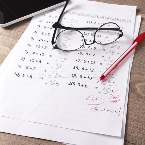 Mathématiques test enseignants bureau papier Photo stock © nessokv
