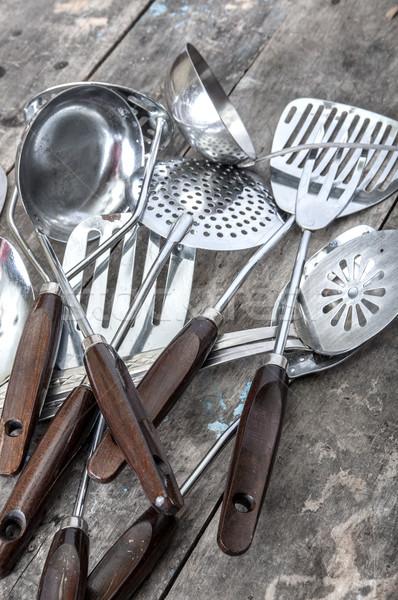 Starych vintage metal zupa łyżka tabeli Zdjęcia stock © nessokv