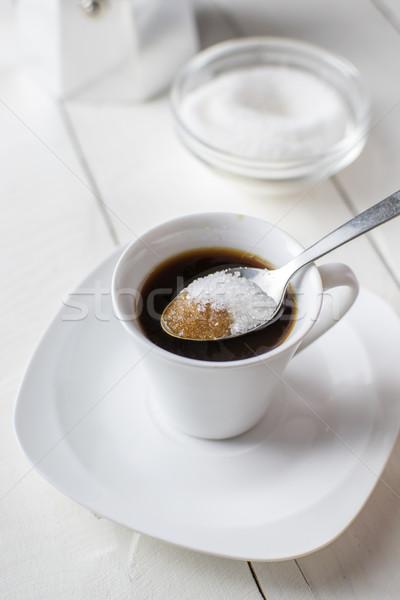 áramló cukor kávéscsésze részlet teáskanál ital Stock fotó © nessokv