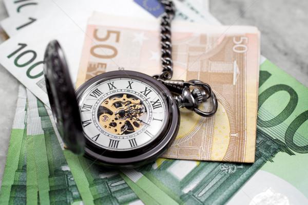 Tijd is geld euro bankbiljetten zakhorloge tijd leven Stockfoto © nessokv