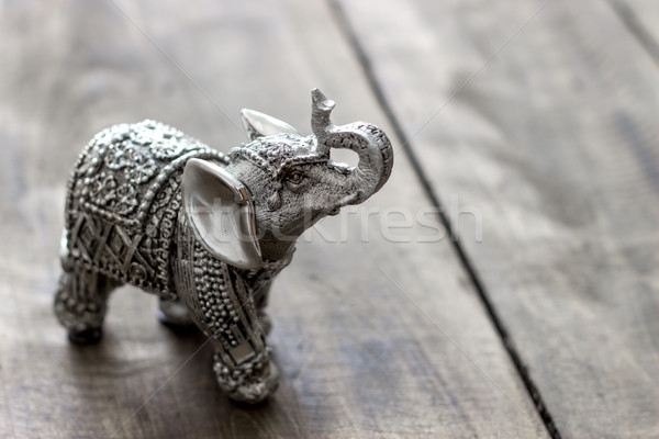 Indian olifant beeldje houten tafel model Stockfoto © nessokv