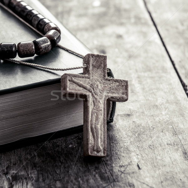 cross on a wooden surface closeup Stock photo © nessokv