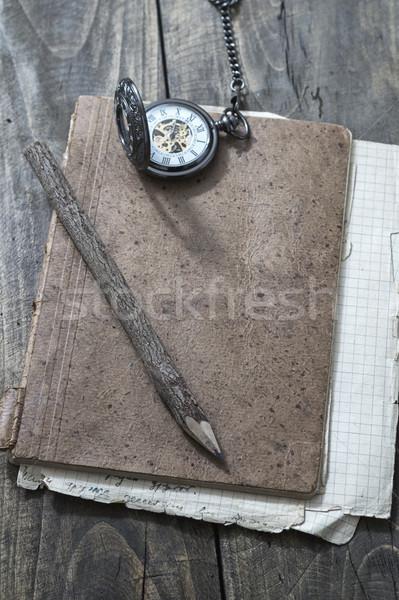 écorce couvert crayon vieux papier papier bois Photo stock © nessokv