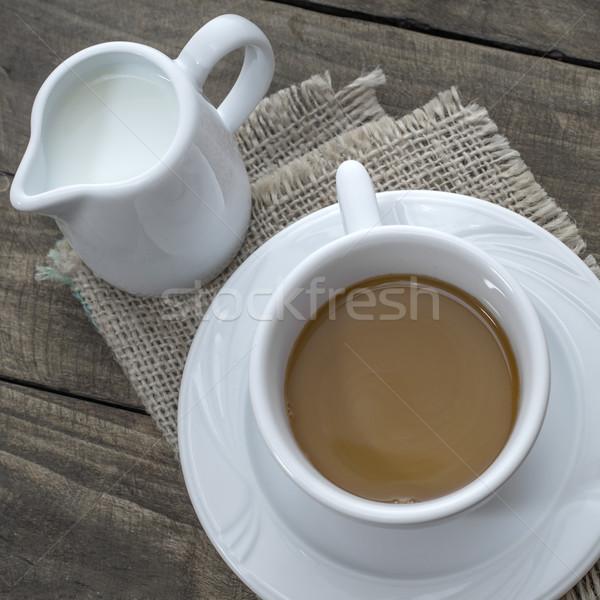 Caffè latte Cup tavolo in legno Foto d'archivio © nessokv