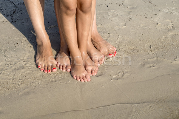 feet of child and mom in the sea sand Stock photo © nessokv
