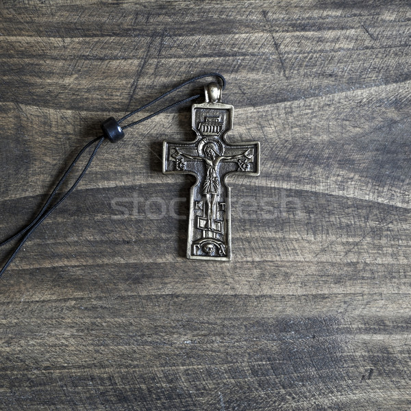 Simple christian croix collier bois Photo stock © nessokv