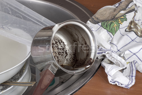 dirty dishes in the sink Stock photo © nessokv