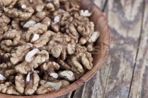 walnut in wooden bowl Stock photo © nessokv