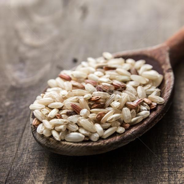 Kahverengi pirinç tablo arka plan Stok fotoğraf © nessokv