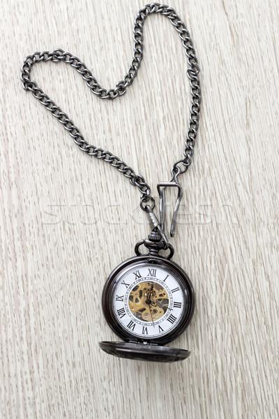 Relógio de bolso mesa de madeira tempo Foto stock © nessokv