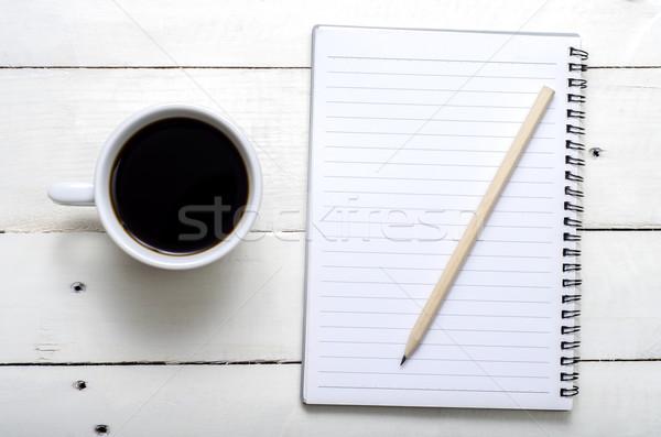 горячей кофе время ноутбук карандашом белый Сток-фото © nessokv